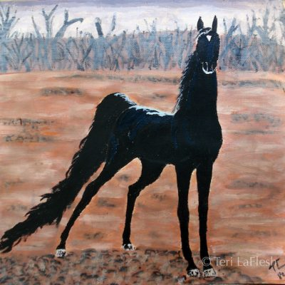 Black Horse, acrylic on paper
