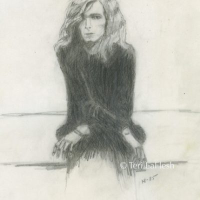 David Bowie in Black drawn at sixteen