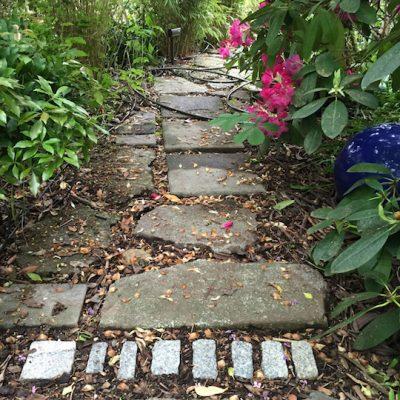 Urbanite and mixed stone path