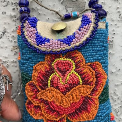 Turquoise Rose Bag, front